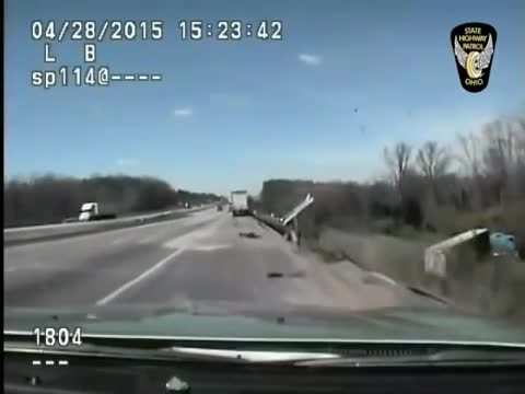 Car Camera Films As This Patrol Officer Helps An Injured Victim In An Accident!