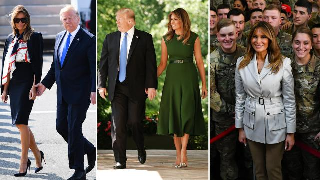 President Donald Trump talks about First Lady Melania