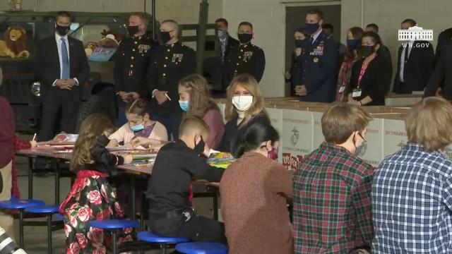 First Lady Melania Trump participates in a toys for tots event