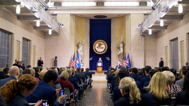 First Lady Melania Trump delivers remarks at the DOJ national opioid summit