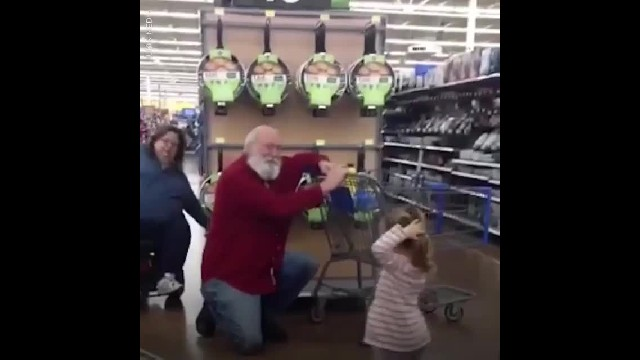 Little Girl Thinks She Meets Santa & His Reaction Is Everything