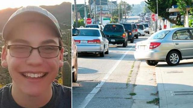 Motorists honk and speed past truck parked at stop sign as teen walks up and stops cold at view insi