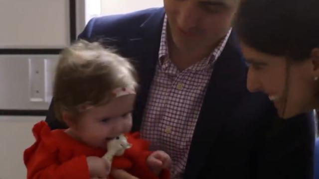 Watch 6-month-old respond with giggles moment she hears for very 1st time after implant