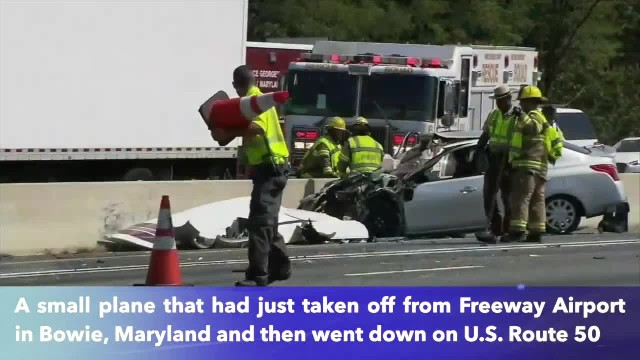 Small plane crashes into car on Maryland highway, 4 injured