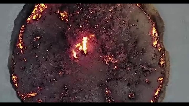 Aerial footage of fire which has been burning for more than 40 years