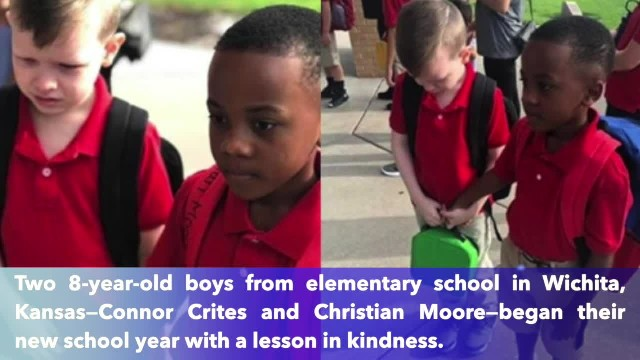 Photo of 8-year-old Kansas boy helping classmate with autism goes viral