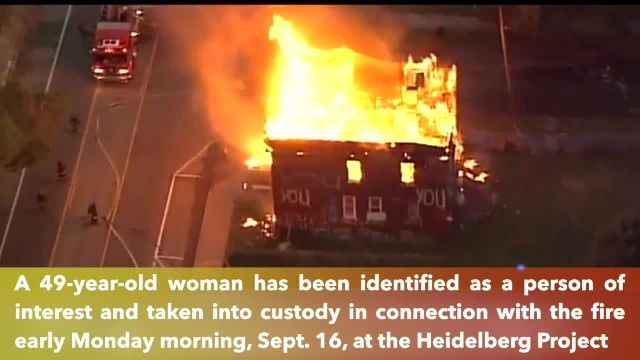 Woman in custody after fire destroyed a building in Heidelberg Project in Detroit