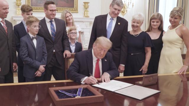 President Trump presents the medal of freedom to Olympian Jim Ryun