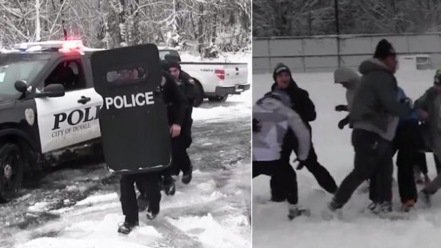 Kids gather in park for friendly football game, then cops show up with riot shields
