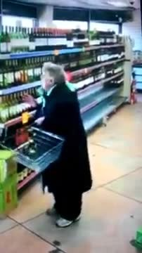 Granny in store dancing and singing