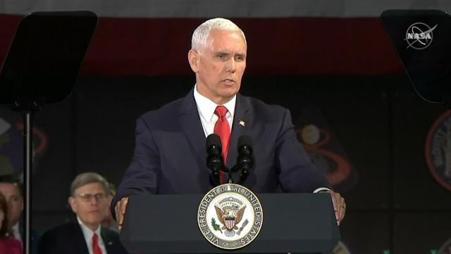 """Vice President Pence says """"But now's come the time for us to make the next giant leap and return Ame"""