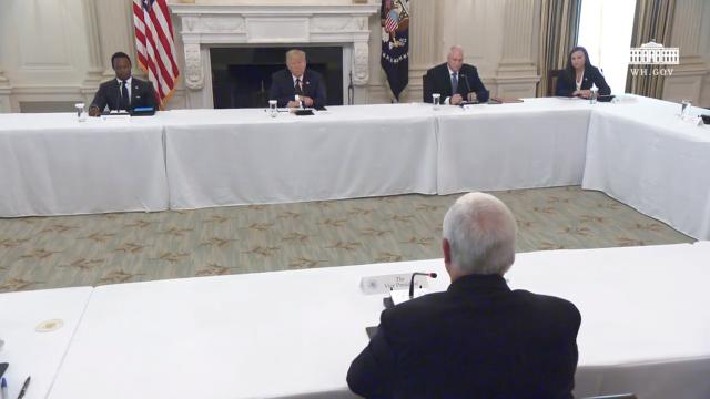 President Trump participates in a roundtable with law enforcement
