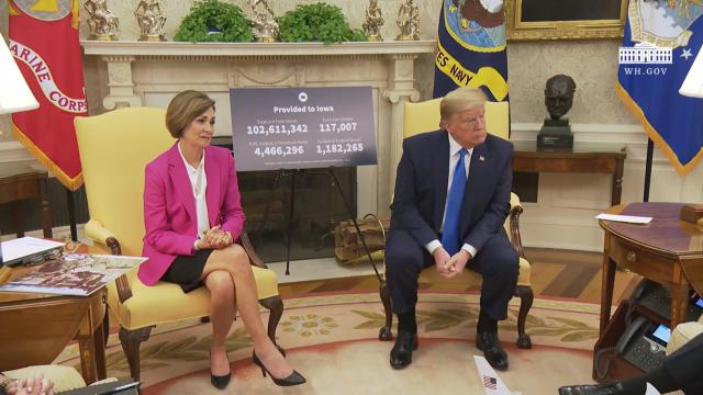 President Trump meets with the governor of Iowa