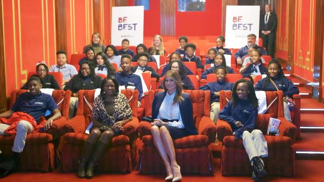 First Lady Melania Trump hosts students at the White House movie theater