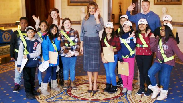 First Lady Melania Trump welcomes elementary students to the White House