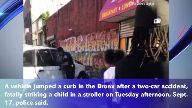 Child in stroller fatally struck after car jumps curb