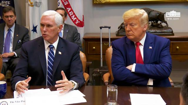 President Trump and Vice President Pence participate in a coronavirus briefing with Airline CEOs