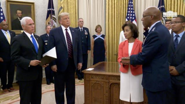 President Trump and Vice President Pence participate in a ceremonial swearing