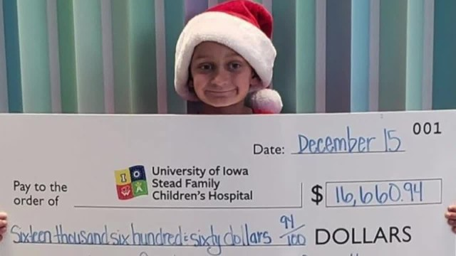 9-year-old donates over $16,000 to Iowa children's hospital.