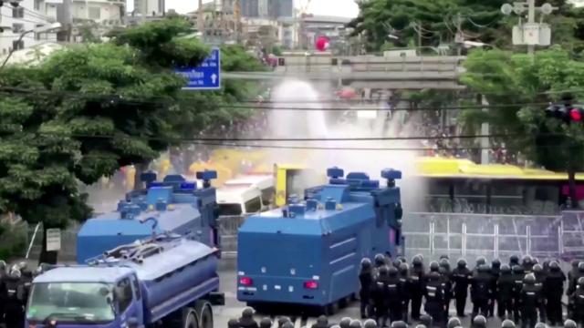 Thai police blast protesters with water cannon