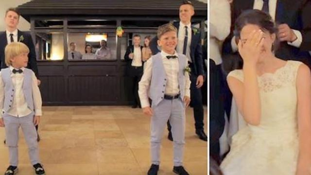 Eight siblings dance before bride but it's little brother's moves that have everyone wildly applaudi