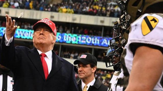 President Trump greeted like a rock star as cheers and applause rain down on him at Army-Navy game