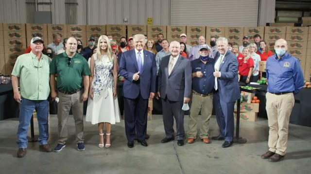 President Trump visits the Farmers to Families food box program in North Carolina