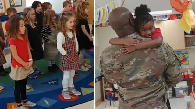 Preschoolers sing 'God bless the USA' after deployed air force dad surprises daughter