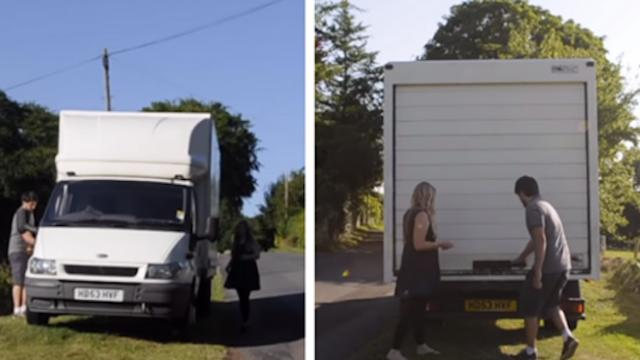 To save money, couple lives inside old white van after turning it into a one-bedroom apartment