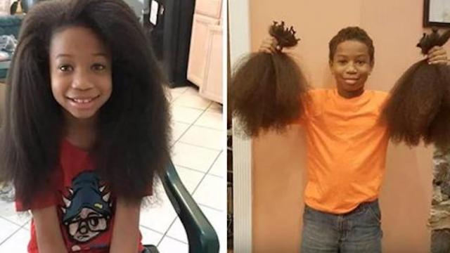 Ten-year-old boy spends two years growing his hair then donates