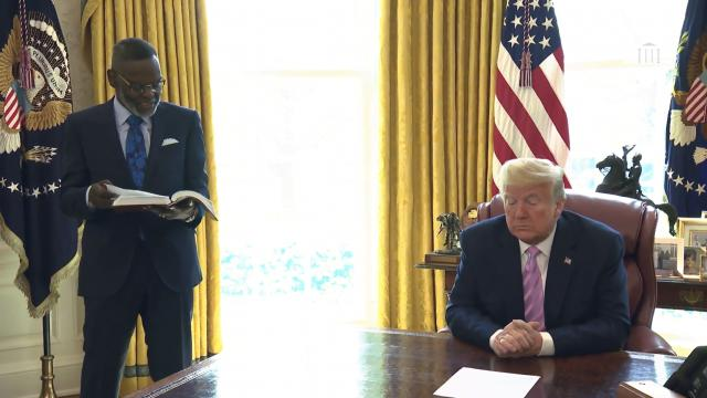 President Trump participates in an Easter blessing with bishop Harry Jackson