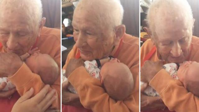 A 105-year-old man is scared to hold his great-grandson. But when he does, he's filled with joy