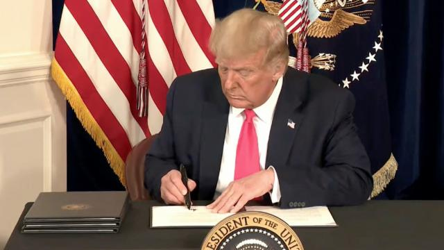 President Trump signs four executive actions to provide Americans with financial relief